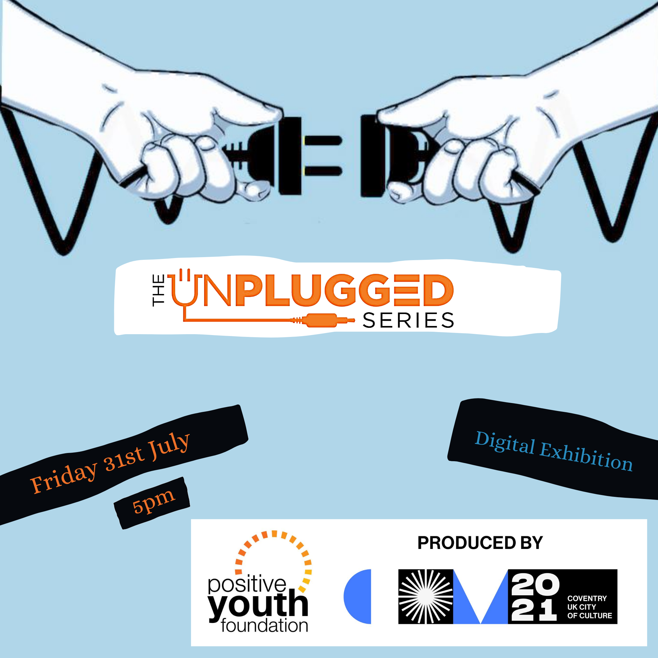 The Unplugged Series logo, showing two hands reaching to plug two electric cables together.