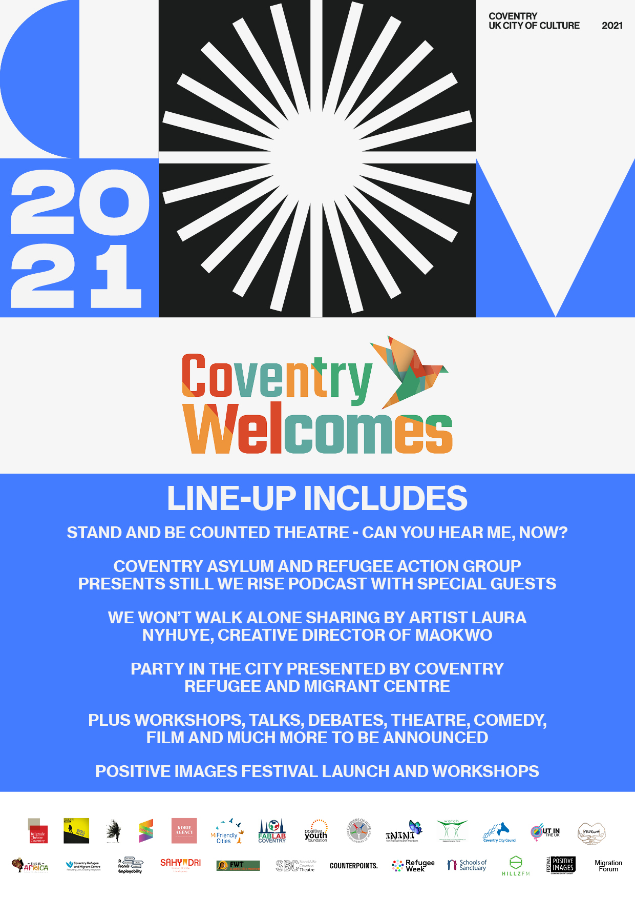 Image: Coventry Welcomes poster featuring event information, further details of all events available on this webpage's main text