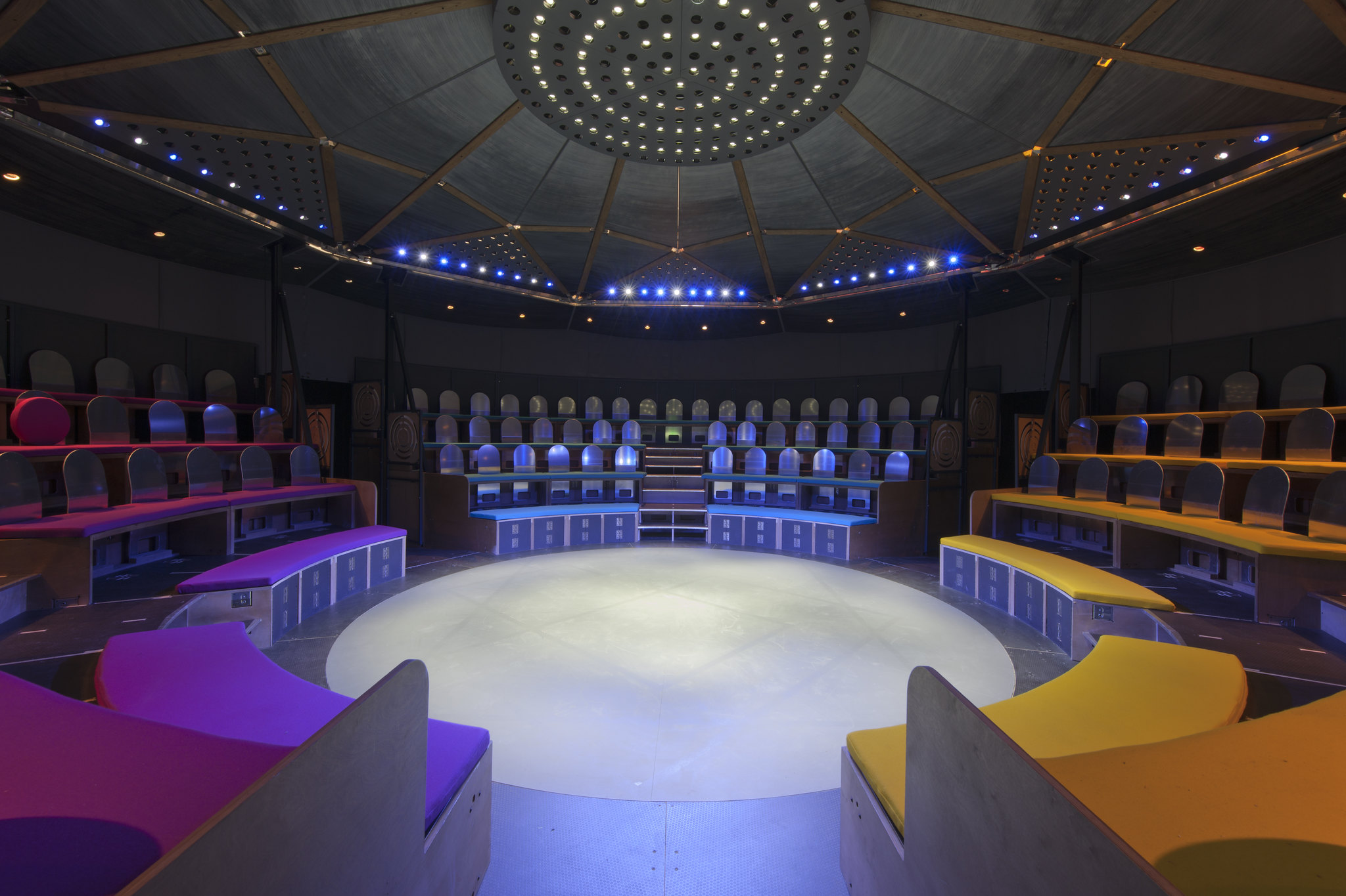 Image: Inside Paines Plough's Roundabout. Seating circles centre stage.