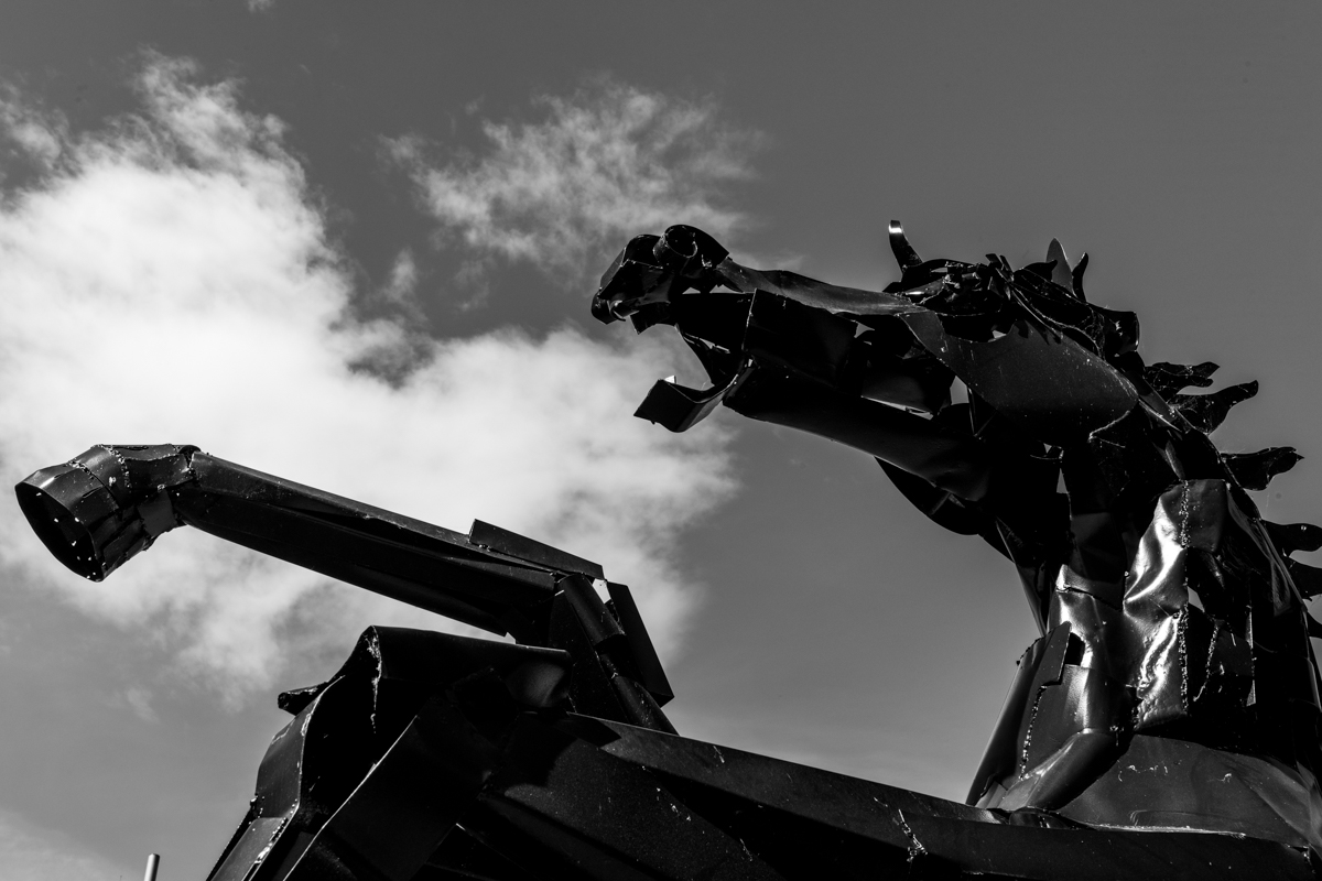Image: Metal horse sculpture in Coventry city centre by Garry Jones