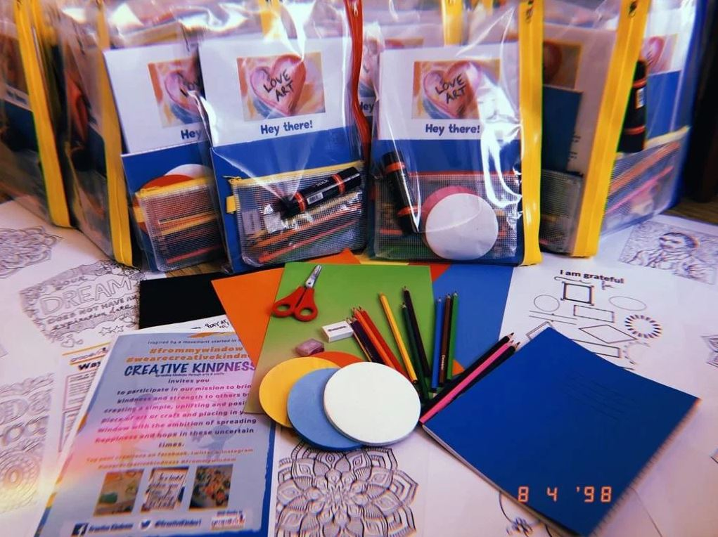 Image: Hayley's creative packs, which include paper, scissors and coloured pencils.